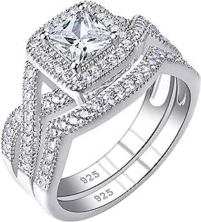 Newshe خواتم زفاف للنساء خاتم الخطوبة 925 فضة تشيكوسلوفاكيا 1.24Ct الأميرة الحجم 5-10