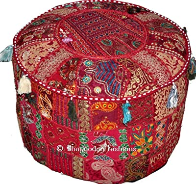 Fine Amazon Com Traditional India Indian Patchwork Pouf Cover Unemploymentrelief Wooden Chair Designs For Living Room Unemploymentrelieforg