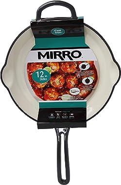 "Mirro White Enamel Coated 12"" Cast Iron Skillet, Grey"