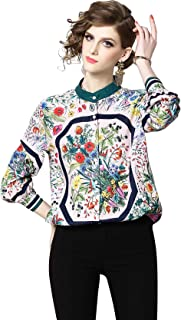 Women's Collared Neck Casual Loose fit Long Sleeve Button up Shirt Blouses