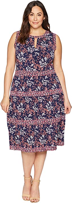 Plus Size Blooms Border Tier Dress