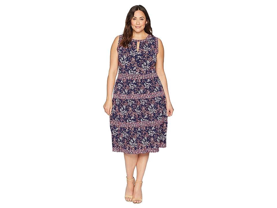 MICHAEL Michael Kors Plus Size Blooms Border Tier Dress (True Navy/Bright Blush) Women
