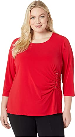 Plus Size 3/4 Sleeve Knit with Lacing