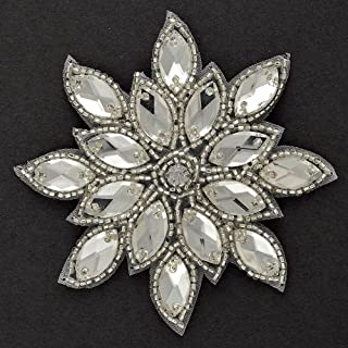 2-pcs Iron-on Rhinestone Beaded Applique, Beaded Patch, 3-1/8''D, TR-11185 (Crystal/Silver)