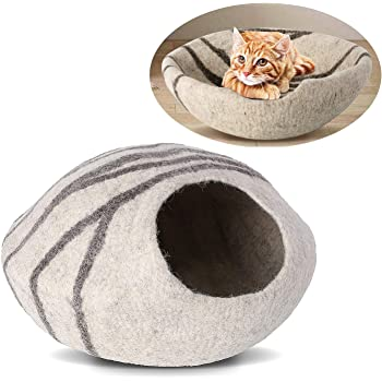 """pedy 19"""" Cat Cave Bed Large, Premium Handmade Natural Wool Self Warming Cat Cubby Enclosed for Cats and Kittens"""