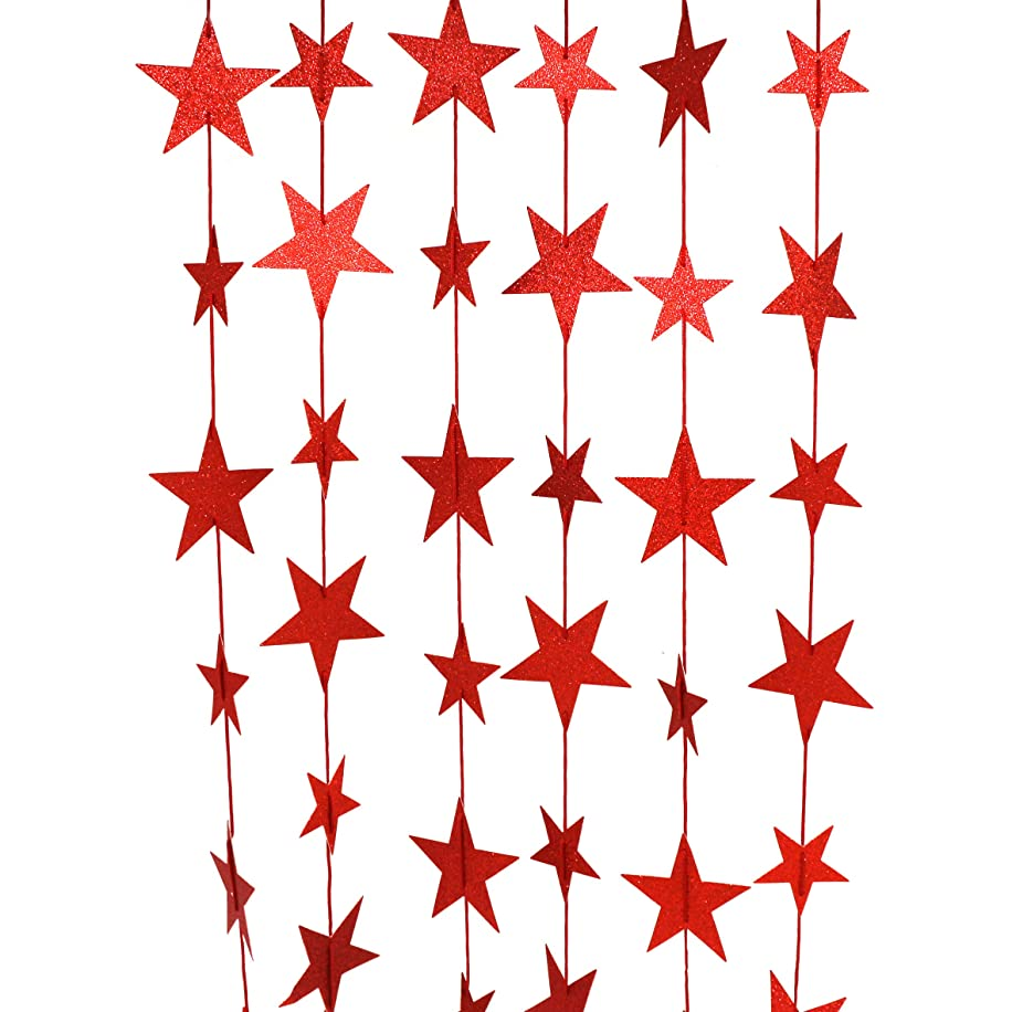 CVHOMEDECO. Golden Twinkle Glittered Paper Star String Star Garland Unique Hanging Bunting Banner for Wedding Birthday Party Festival Home Background Decoration, 5.5 feet, Pack of 2 PCS (Red)