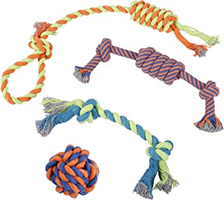 IMK9 Rope Dog Toys – Set of 4 Different Toys for Large and Small Dogs – Suitable for Aggressive Puppy Chewers – 100% Cotton – with Ball, Thick Teething Rope, Tug-of-War Toy and Fetching Bone