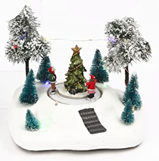 Lighted Winter Holiday Scene with Animated Skating Children - Christmas Village Decoration (Tree)