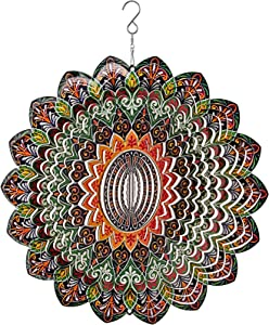 Mandala 3D Wind Spinner Yard Decor – 12in Stainless Steel Windmills for The Yard – Laser Cut Metal Garden Decor,for Indoor and Outdoor Ornaments