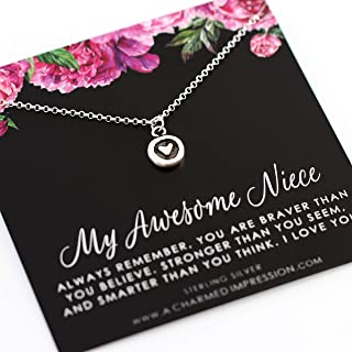 Awesome Niece Gifts from Aunt Uncle • Niece Necklace • Christmas Birthday Gift for Girls • Sterling Silver • 16 Inch Chain • Heart Charm Necklace • Gifts for Niece Jewelry • Braver Stronger Smarter