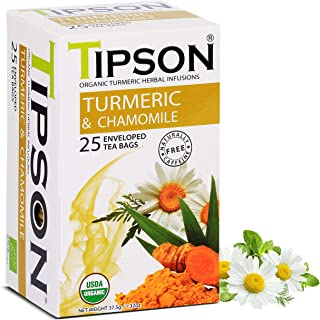 Tipson Organic Turmeric Caffeine Free Herbal Tea - Organic Turmeric & Organic Chamomile - 25 Foil Enveloped Double Chambered Bags - Keto/Paleo - Basilur
