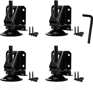 Steel Heavy Duty Adjustable Furniture Leg Leveler with Lock Hexagon Nuts - 2000 Lbs Capacity (Set of 4)