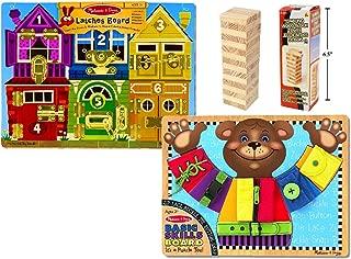 Melissa & Doug Deluxe Latches Board & Basic Skills Board Combo with 48pc Tumbling Wood Blocks