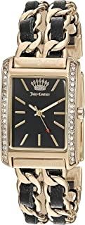 Juicy Couture Black Babel Women's Swarovski Crystal Accented Gold-Tone and Black Leather Chain Bracelet Watch, JC/1196BKGB