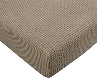 Subrtex Spandex Elastic Couch Stretch Durable Slipcover Furniture Protector Slip Cover for Settee Sofa Seat (Loveseat Cushion, Sand)