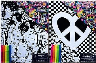Paper Moon Media Lisa Frank Velvet Art Set; Penguins and Peace Sign, 2-pk