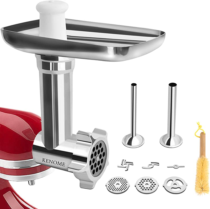 Metal Food Grinder Attachment For KitchenAid Stand Mixers Includes 2 Sausage Stuffer Tubes Durable Meat Grinder Attachment For KitchenAid Sliver