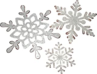 Classic Snowflakes Galvanized Metal Christmas Ornaments Assorted Size 3 Piece Set