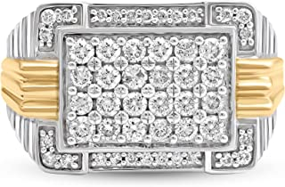 Jewelili 10K White and Yellow Gold 1 Cttw Natural White Round Diamond Mens Ring