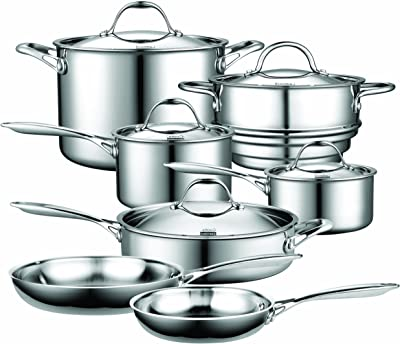 Cooks Standard Stainless Steel 12-Piece Multi-Ply Clad Cookware Set, Silver