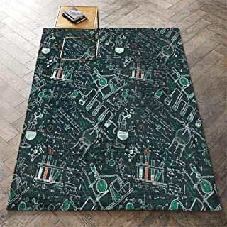 Round Floor mat Bathroom 35x47 Inch (Science Steampunk Aged Analyzing Artwork Background Biology Board Book Chemical Chemistry) Living Dining Room Bedroom Hallway Office Carpet