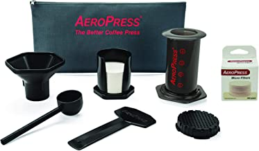 AeroPress Coffee and Espresso Maker with Tote Bag and 350 Additional Filters - Quickly Makes Delicious Coffee Without Bitterness - 1 to 3 Cups Per Press