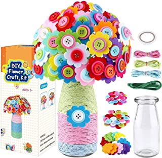 LEHSGY Flower Craft Kit for Kids - Colorful Button & Felt Flowers, Vase Art Toy & Craft Project for Children, DIY Activity...