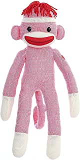 Made By Aliens Adorable Sock Monkey, The Original Traditional Hand Knitted Stuffed Animal Toy Gift-for Kids, Babies, Teens, Girls and Boys Baby Doll Present Puppet 20 Inches Orange