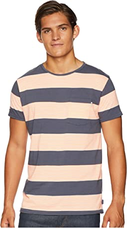 Ams Blauw Single Pocket Regular Fit Colored Striped T-Shirt