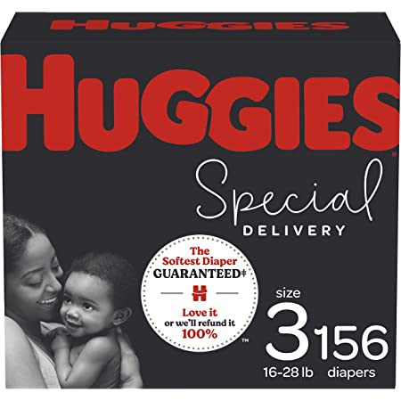 Hypoallergenic Baby Diapers Size 3, 156 Ct, Huggies Special Delivery, Softest Diaper, Safe for Sensitive Skin