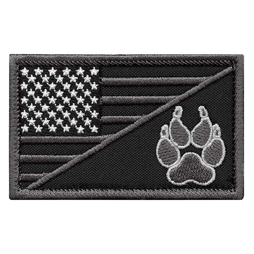 LEGEEON ACU USA American Flag K-9 Dog Handler Subdued Morale Tactical Embroidery Touch Fastener Patch