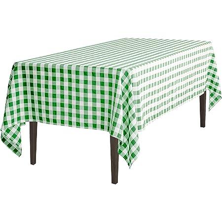 Amazon Com Linentablecloth 60 X 102 Inch Rectangular Tablecloth Green White Checker Home Kitchen