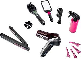 Theo Klein 5873 Set de peluquería Satin Hair 7, Con plancha para el pelo, cepillo y mucho más, Secador a pilas, Medidas de...