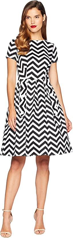 Cotton Chevron Fit & Flare Dress