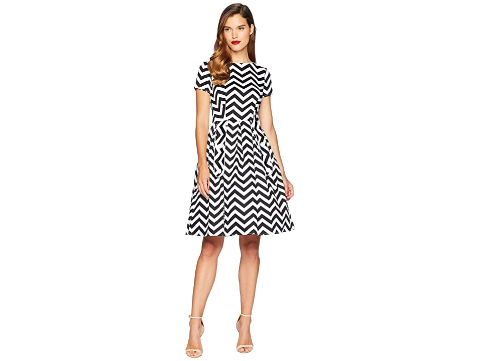 Unique Vintage Cotton Chevron Fit Flare Dress (Black/White) Women