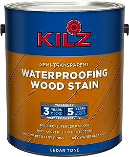 KILZ L832111 Exterior Waterproofing Wood Stain, Semi-Transparent, Cedar, 1-Gallon, 1 Gallon, 4 l