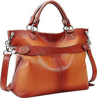 Heshe Women's Leather Shoulder Handbags Tote Top-handle Handbag Crossbodies Bags Satchel for Ladies