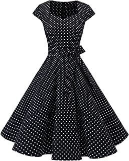 DRESSTELLS Damen 50er Rockabilly Kleider Hepburn Stil Cocktailkleider Vintage Retro Kleid Faltenrock Knielang