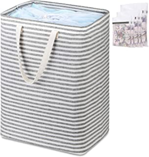 Magicfly Laundry Hamper with 5 Laundry Bags, 75L Self-Standing Waterproof & Foldable Large Laundry Basket Tall Slim Laundry Bags with Extended Handle Extra Large for Clothes Towels Beddings Toys, Grey