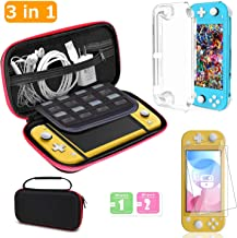 3 in 1 Accessories Compatible for Nintendo Switch 2019 Release [Storage Bag + 2 Tempered Glass Film + Ultra-Thin Cover] with Mesh Bag Shockproof 300D Nylon Material Waterproof and Dustproof Anti-Foul