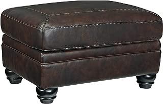 Ashley Furniture Signature Design - Bristan Traditional Style Faux Leather Ottoman - Walnut Brown