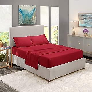 "Nestl Bedding Soft Sheets Set – 4 Piece Bed Sheet Set, 3-Line Design Pillowcases – Easy Care, Wrinkle – 10""–16"" Deep Pocket Fitted Sheets – Warranty Included – Flex-Top King, Burgundy Red"