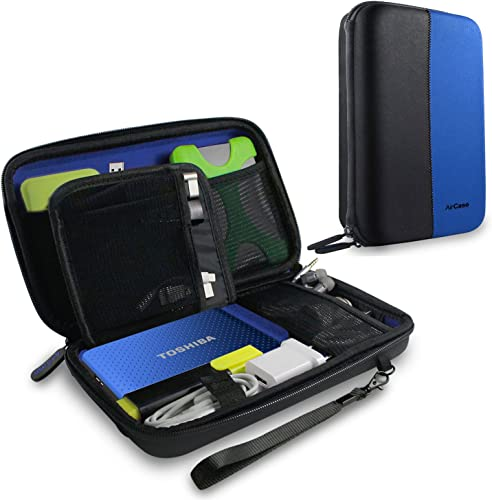 Aircase Gadget Travel Organizer Electronics Accessories Bag Case For 8 Inch Tablet Ipad Mini Charger Power Bank Memory Card USB Data Cable Camera Accessories Pen Drive Etc Universal Travel Bag Go Bag Blue