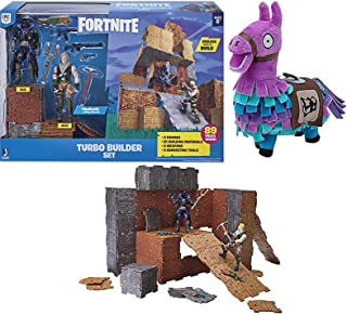 Fort Builder Wall Up & Turbo Pack Jonesy + Raven Action Figures / Building Materials / Weapons & Loot Llama Purple Plush 2 Items