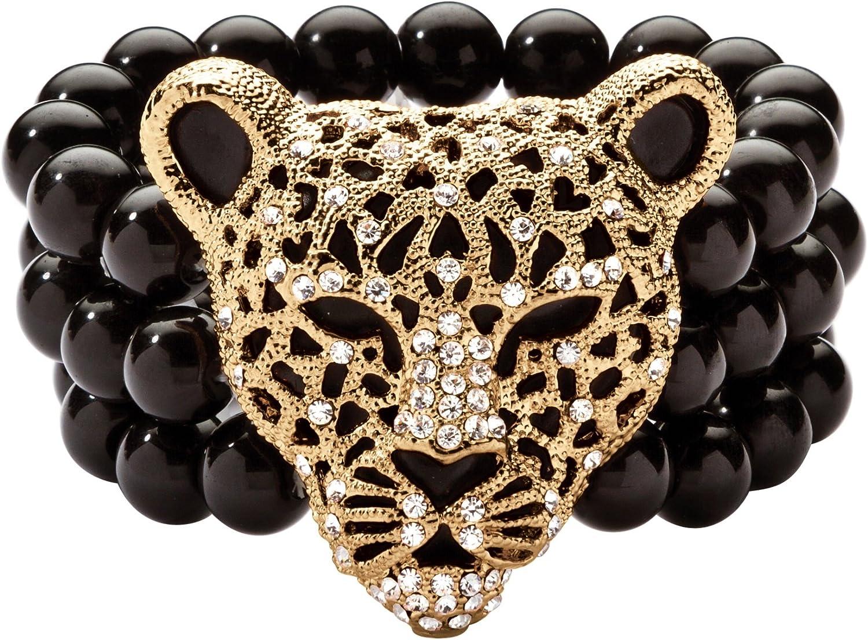 Palm Beach Jewelry Goldtone Round Crystal Onyx Leopard Stretch Bracelet (42mm), 8.5 inch Length