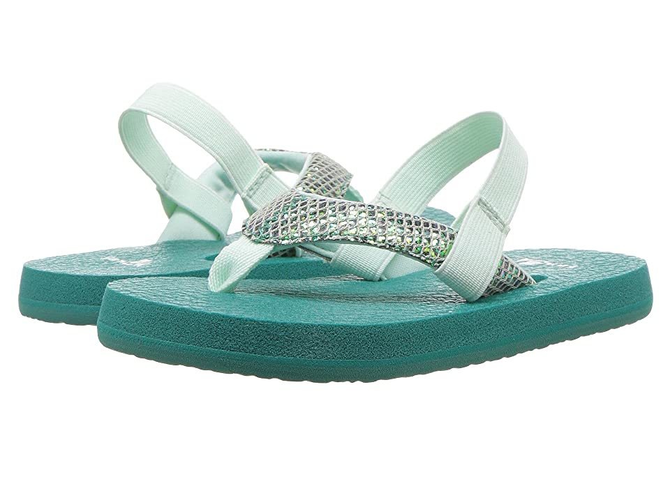 Sanuk Kids Yoga Glitter (Toddler/Little Kid) (Sea Green) Girls Shoes
