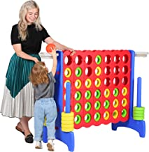 Giant Four in a Row 4 Feet Adults Yard Connect Game Basketball Activity Outdoor Floor Game for Kids Teenages 64 inch Jumbo Indoor Family Fun Board Games -SZQ02R