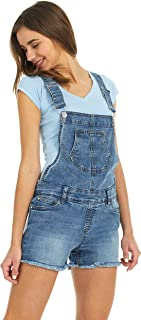 Suko Jeans Women's Stretch Denim Overall Cutoff Shorts