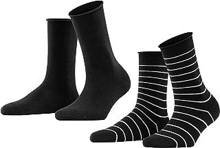 FALKE Happy Stripe 2-Pack Damen Socken black 3000 39-42 Baumwollstrumpf für jedes Outfit
