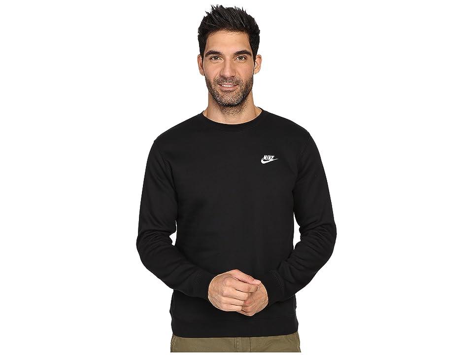 Nike Club Fleece Pullover Crew (Black/White) Men